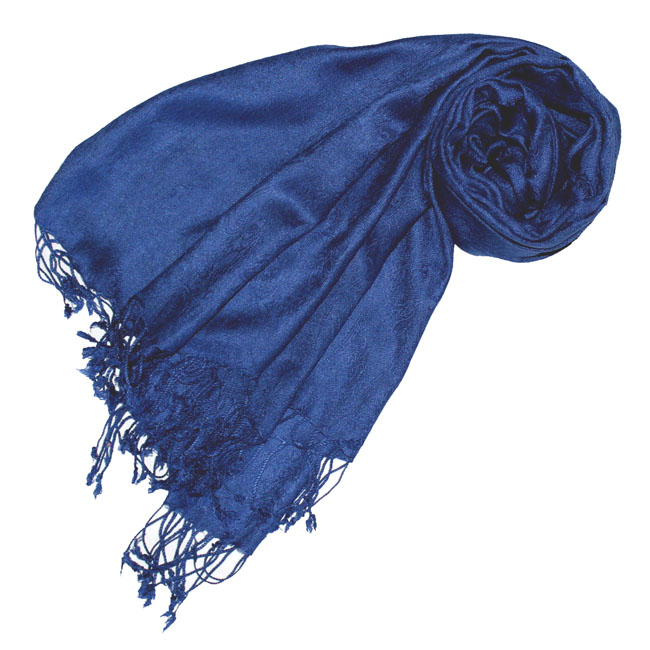 93082 LORENZO CANA Luxus Schal Trendfarben Blau Dunkelblau Königsblau