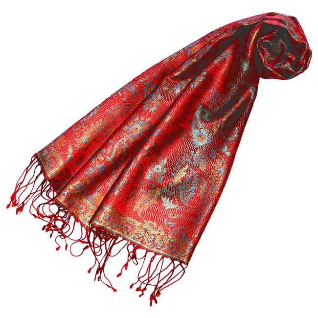 78186 LORENZO CANA Pashmina Schal 100% Seide Rot Gold Türkis Paisley