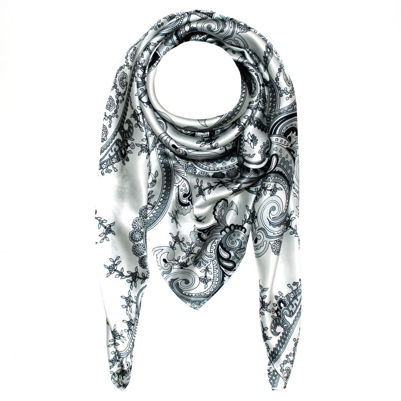 89005 LORENZO CANA Luxus Tuch aus 100% Seide schwarz weiss silber