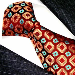 12001 rotbraun rost türkis bronze Karo Krawatte Seide LORENZO CANA