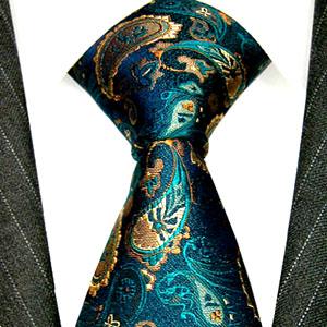 12002 LORENZO CANA Krawatte Seide Paisley Türkis Grün Braun Ocker Tie
