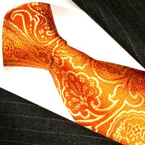12004 Orange Paisley Krawatte Seide LORENZO CANA Necktie  галстук шелк