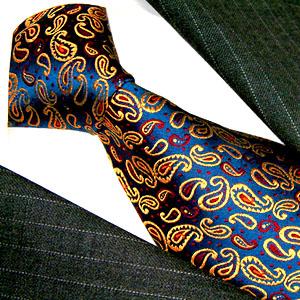 12005 LORENZO CANA Designer Krawatte Dunkelblau Rot Gold Paisley Seide