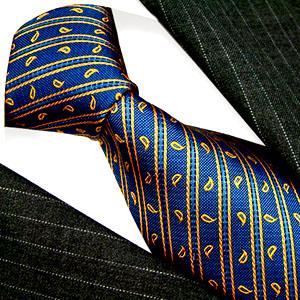 12014 Blau Gold Krawatte Seide LORENZO CANA Seidenkrawatte Blue Tie