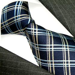 12016 Blau Dunkelblau Karo Seidenkrawate LORENZO CANA Blue Neck Tie