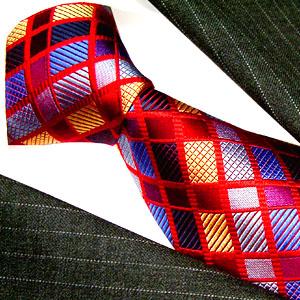 12017 Karo Krawatte 100% Seide rot blau gold LORENZO CANA Red Neck Tie