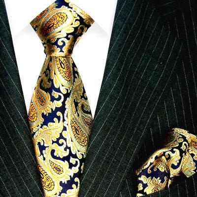 1202501 LORENZO CANA Krawatte und Einstecktuch Seide Blau Gold Paisley