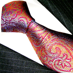 12028 rote Krawatte Seide Paisley Muster LORENZO CANA Red Neck Tie