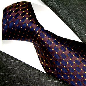 12029 Blaue Krawatte Gold Punkte 100% Seide LORENZO CANA Necktie Blue