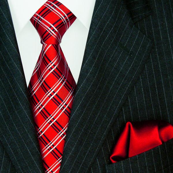 1204101 LORENZO CANA Rote Krawatte Seide Einstecktuch Neck Tie Set