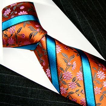 12044 LORENZO CANA Blumen Seidenkrawatte Streifen orange blau Necktie