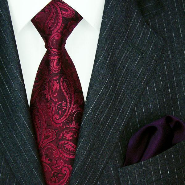 1204501 LORENZO CANA Krawatte Seide Einstecktuch Neck Tie Set Rot