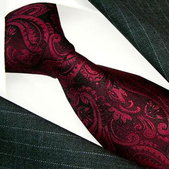 12045 LORENZO CANA Blumen Krawatte Paisley Rot Beere Schwarz Silk Tie