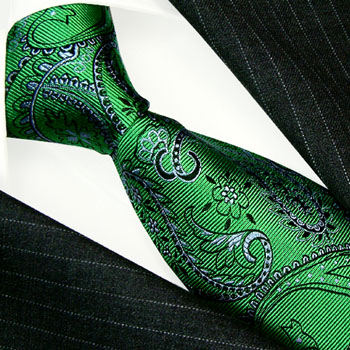 12047 LORENZO CANA Krawatte Paisley Grün Grau Schwarz Green Neck Tie