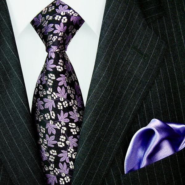 1204901 LORENZO CANA Krawatte Seide Einstecktuch Neck Tie Set Lila