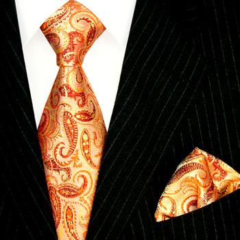 2500101 LORENZO CANA Lachs Orange Apricot Seide Krawatte Einstecktuch