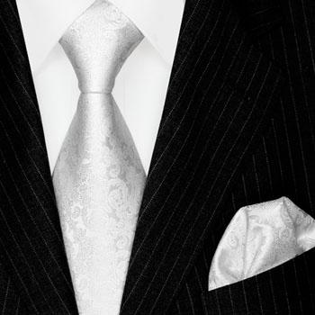 2500701 LORENZO CANA Weiss Barock Krawatte Einstecktuch Seide Hochzeit