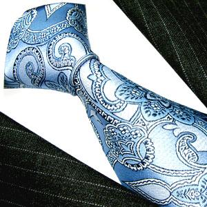 25008 blaue Krawatte Paisley 100 % Seide LORENZO CANA イタリアのシルクネクタイ