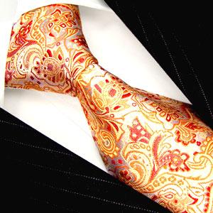 25010 LORENZO CANA Seide Design Krawatte Orange Floral Paisleymuster