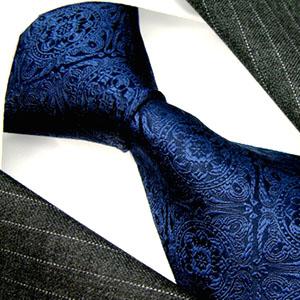 25016 Blaue Krawatte Paisley 100 % Seide LORENZO CANA イタリアのシルクネクタイ