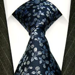 25022 Blaue Floral Barock Blume Ranke Krawatte 100% Seide LORENZO CANA