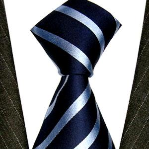 25026 Dunkelblau Krawatte Hellblaue Streifen Seide LORENZO CANA Tie