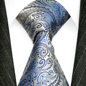 36006 LORENZO CANA Blaue Silber Krawatte Paisley Seide Blue Necktie