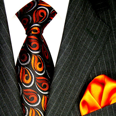 3601901 LORENZO CANA Krawatte Seide Einstecktuch Orange Neck Tie Set