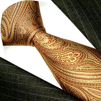 36021 braune Krawatte Schlips Binder Seide Paiselmuster LORENZO CANA
