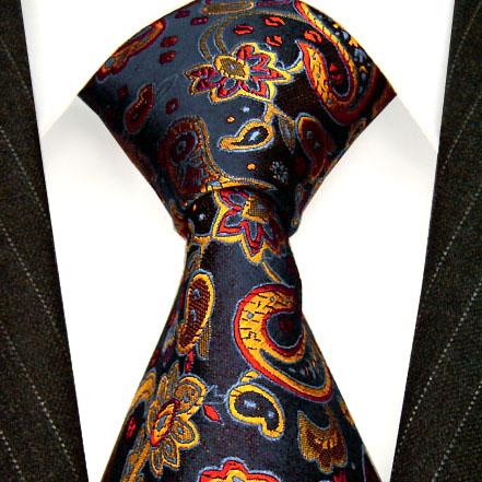36026 LORENZO CANA Krawatte Seide Paisleymuster Marineblau Ocker Tie