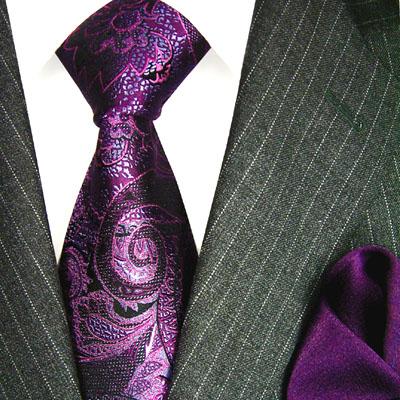 3602901 LORENZO CANA lila violett Krawatte aus Seide mit Tuch Necktie