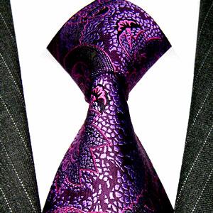 36029 Krawatte Seide Violett Lila Paisley LORENZO CANA イタリアのシルクネクタイ