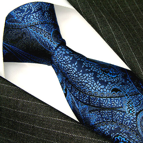 36032 Lorenzo Cana Blaue Design Krawatte aus Seide Paisley Barock Mus