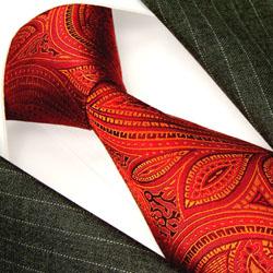 36033 rote Krawatte Seide  Paisley LORENZO CANA Red Silk Neck Tie