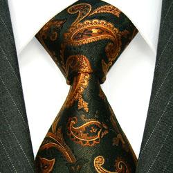 36036 braune Krawatte Paisley Schlips Binder aus Seide LORENZO CANA