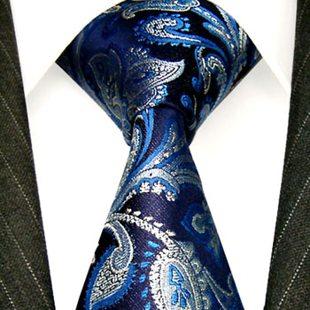 36039 Krawatte LORENZO CANA blau silbern Paisleymuster Blue Neck Tie