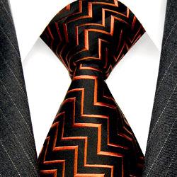 36043 LORENZO CANA Design Krawatte 100% Seide Orange Schwarz Zickzack
