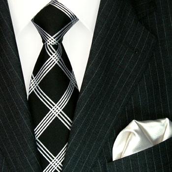 3604801 LORENZO CANA schwarz weiss Karo Krawatte + Tuch Black Neck Tie