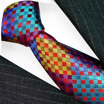 36052 LORENZO CANA Bunte Krawatte Karo Seide Lila Türkis Gelb Blau