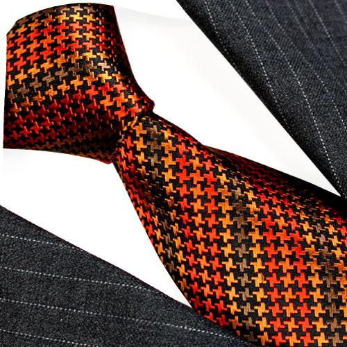 36081 Hahnentritt Orange Braun Ocker Schwarz Krawatte LORENZO CANA