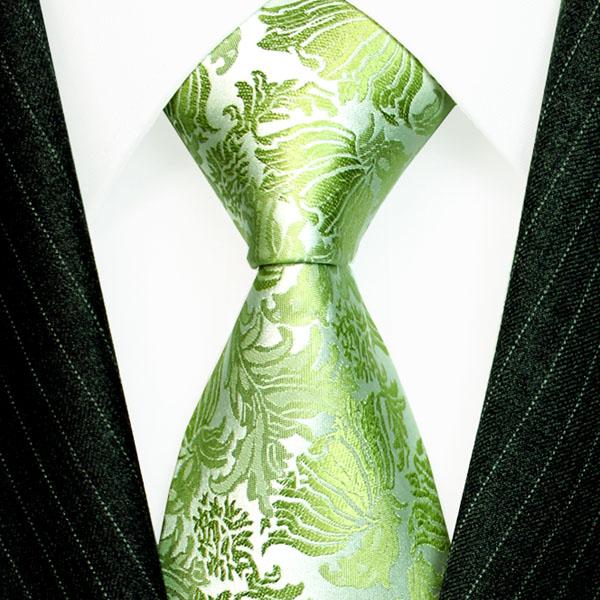 36088 LORENZO CANA Floral  Krawatte Hellgruen Grün Silber Blumen Seide