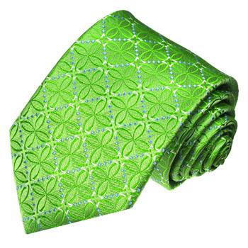 36089 LORENZO CANA Luxus Krawatte Grün Apfelgruen  Blau Blumen Seide