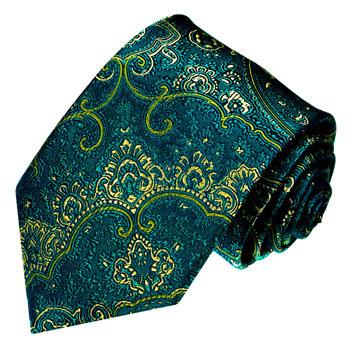 36091 LORENZO CANA Krawatte Grün Türkis Paisley Petrol Blau 100% Seide
