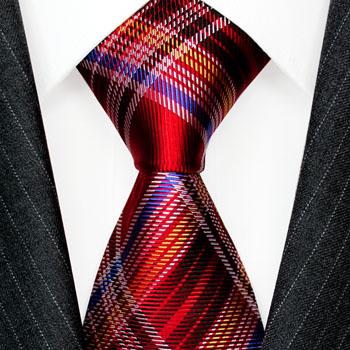 36094 LORENZO CANA Schottenmuster  Krawatte Karo Rot Blau Weiß Seide