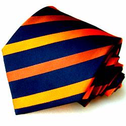 42001 LORENZO CANA Blau Orange Streifen Krawatte Seide Blue Necktie