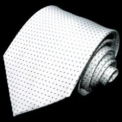 42008 weiss silberne Krawatte Punkte Schlips 100% Seide  LORENZO CANA