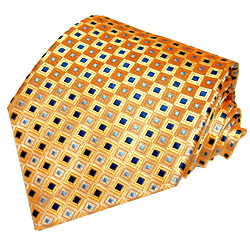 42013 gelb gold blaue Krawatte Karo LORENZO CANA Yellow Silk Necktie