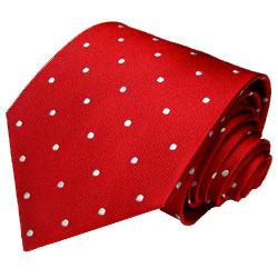 42020 Rote Krawatte weisse Punkte gepuktet Schlips Seide LORENZO CANA