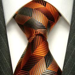 42025 LORENZO CANA Designer Krawatte Seide Orange Braun Beige Schwarz