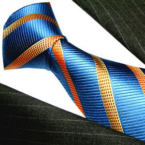 42042 LORENZO CANA blaue Krawatte aus Seide mit orange kupfer Streifen